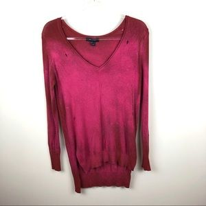Atmosphere Distressed Bleached V-neck Sweater 2